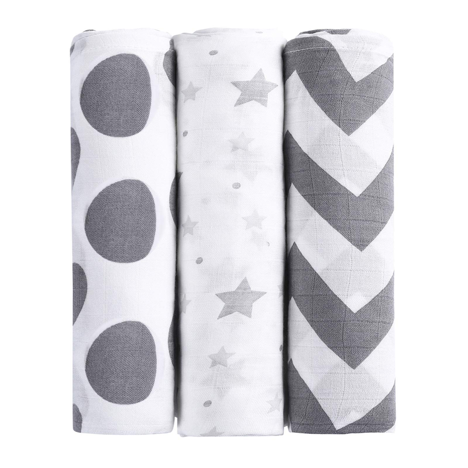 MBJERRY Muslin Swaddle Blankets for Newborn - Large 47x47 Inches Soft Receiving Blanket Pack of 3 Ideal for Baby Boys and Girls Shower Gifts(Style #3)