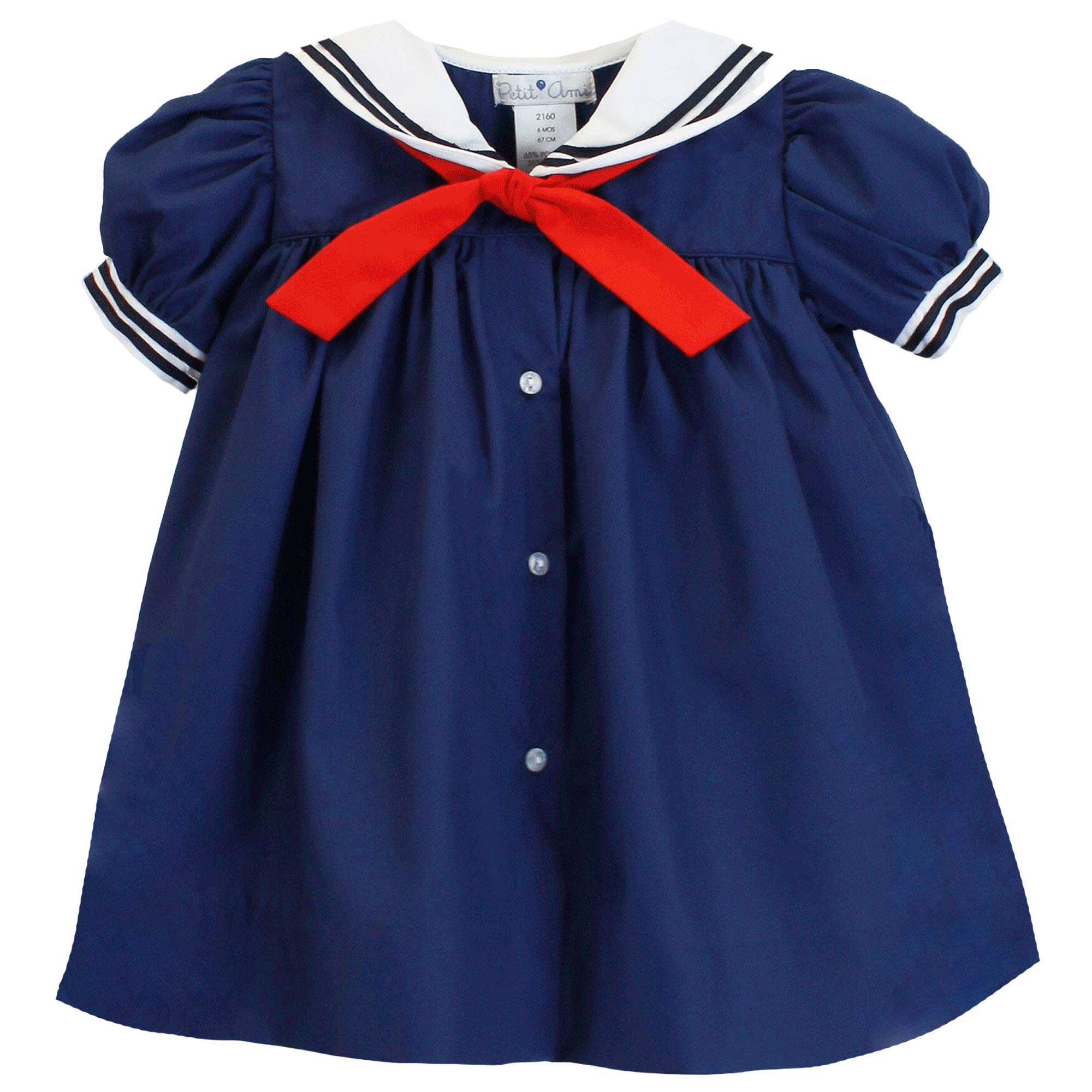 Petit Ami Baby Girls' Nautical Dress with Collar