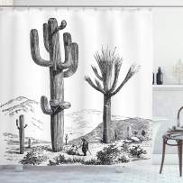 """Ambesonne Cactus Shower Curtain, Sketchy Hand Drawn Print of Desert Plants with Mexican Travellers Image, Cloth Fabric Bathroom Decor Set with Hooks, 84"""" Long Extra, Charcoal Grey"""