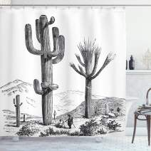 """Ambesonne Cactus Shower Curtain, Sketchy Hand Drawn Print of Desert Plants with Mexican Travellers Image, Cloth Fabric Bathroom Decor Set with Hooks, 75"""" Long, Charcoal Grey"""