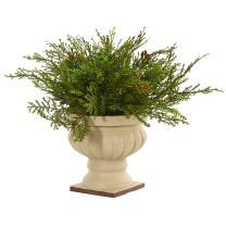 """Nearly Natural Artificial 15"""" Cedar and Blueberry Plant with Planter, Green"""