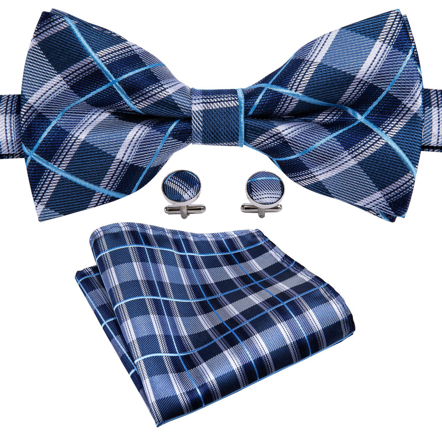 HISDERN Mens Plaid Check Bowtie Woven Self Tie Bow tie and Pocket Square Set