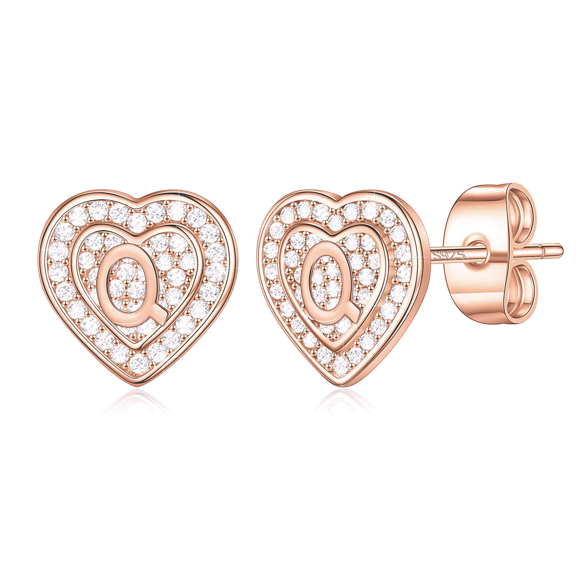 Tiny Heart Stud Earrings for Girls, S925 Sterling Silver Post Cubic Zirconia Girls Earrings Initial Earrings for Women Girls Earrings for Kids