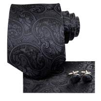 Hi-Tie Silk Paisely Necktie and Pocket Square Cufflinks Set