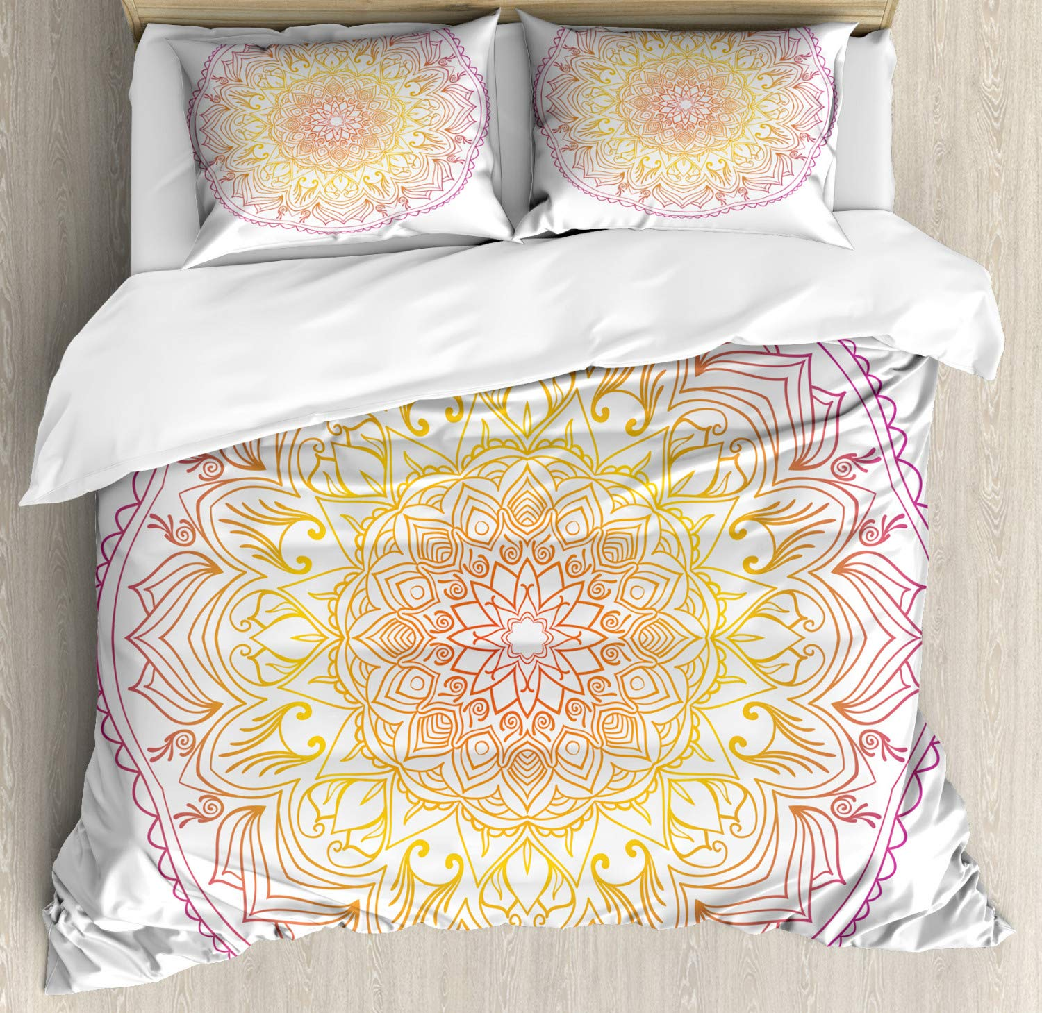 Ambesonne Rainbow Mandala Duvet Cover Set, Traditional Colorful Middle Eastern Design with Ombre Effect, Decorative 3 Piece Bedding Set with 2 Pillow Shams, Queen Size, Violet Orange