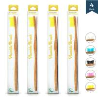 Bamboo Vegan Toothbrush [Set 4] - All Natural Wooden Toothbrushes - Organic, Eco-Friendly and Biodegradable with BPA Free Bristles - Helps Save the Planet and Kids in Need [Yellow Adult]