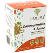 Ashwagandha + Lime Water Enhancer Packets by Conure Life (6 x 16oz per box)| Herbal | Zero Sugar | Low Cal | Super Hydrating For: Workouts, Hangovers, Drink Mixes +