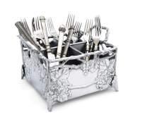 Arthur Court Designs Aluminum Metal Grapevine Flatware Silverware Caddy 8.5 Inch x 8.5 Inch
