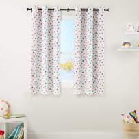 "AmazonBasics Kids Room Darkening Blackout Window Curtain Set with Grommets - 42"" x 63"", Multi-Color Polka Dots"
