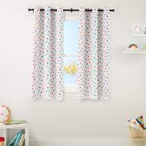 "AmazonBasics Kids Room Darkening Blackout Window Curtain Set with Grommets - 42"" x 63"", Multi-Color Polka Dots"