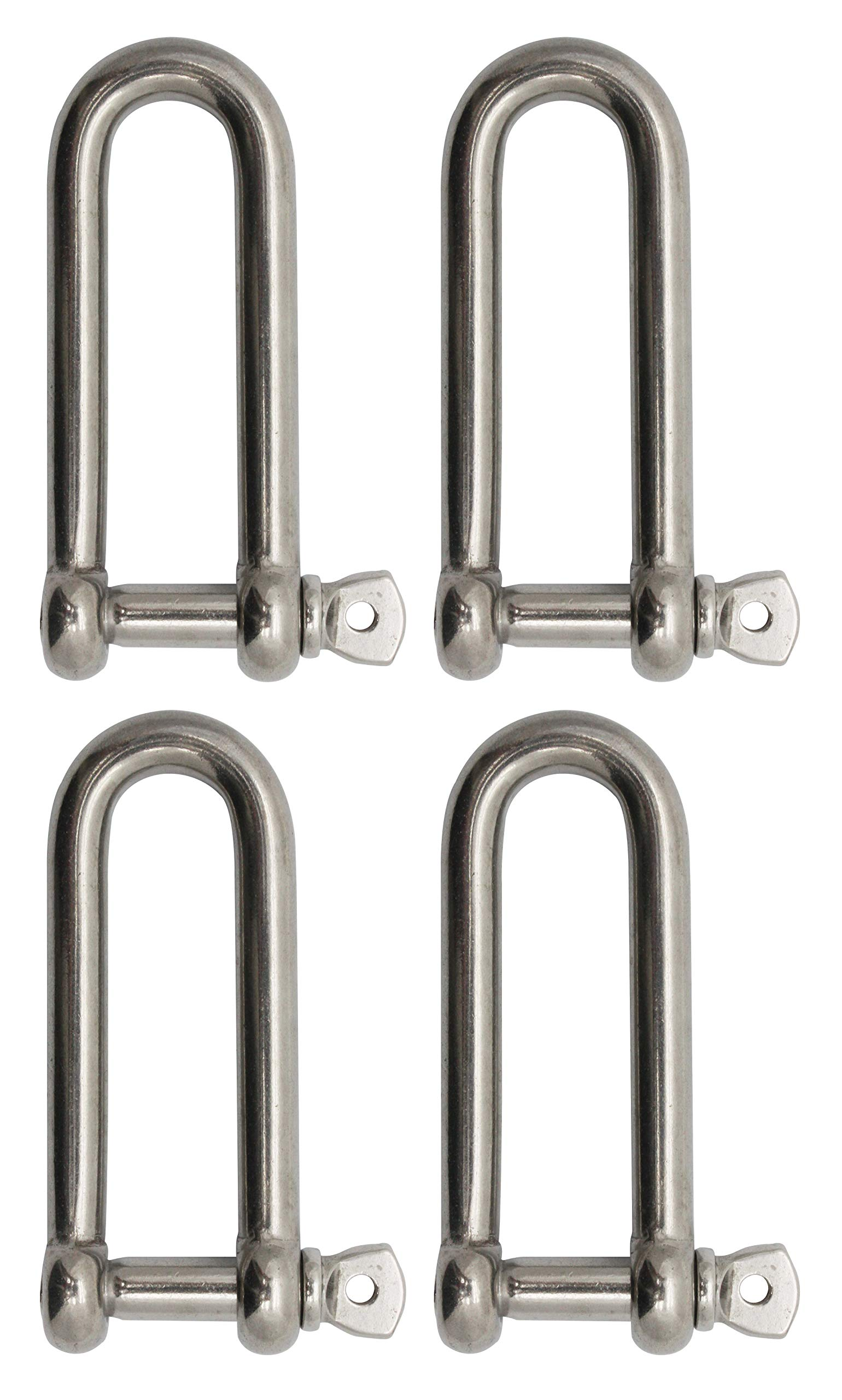 "Extreme Max 3006.8204.4 BoatTector Stainless Steel Long D Shackle - 5/16"", 4-Pack,Silver"