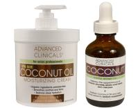 Advanced Clinicals Coconut Skin Care Value Set! 16oz Coconut Oil Moisturizing Cream and 1.8oz Coconut Face oil set. Best coconut cream and oil for face, body and hair.