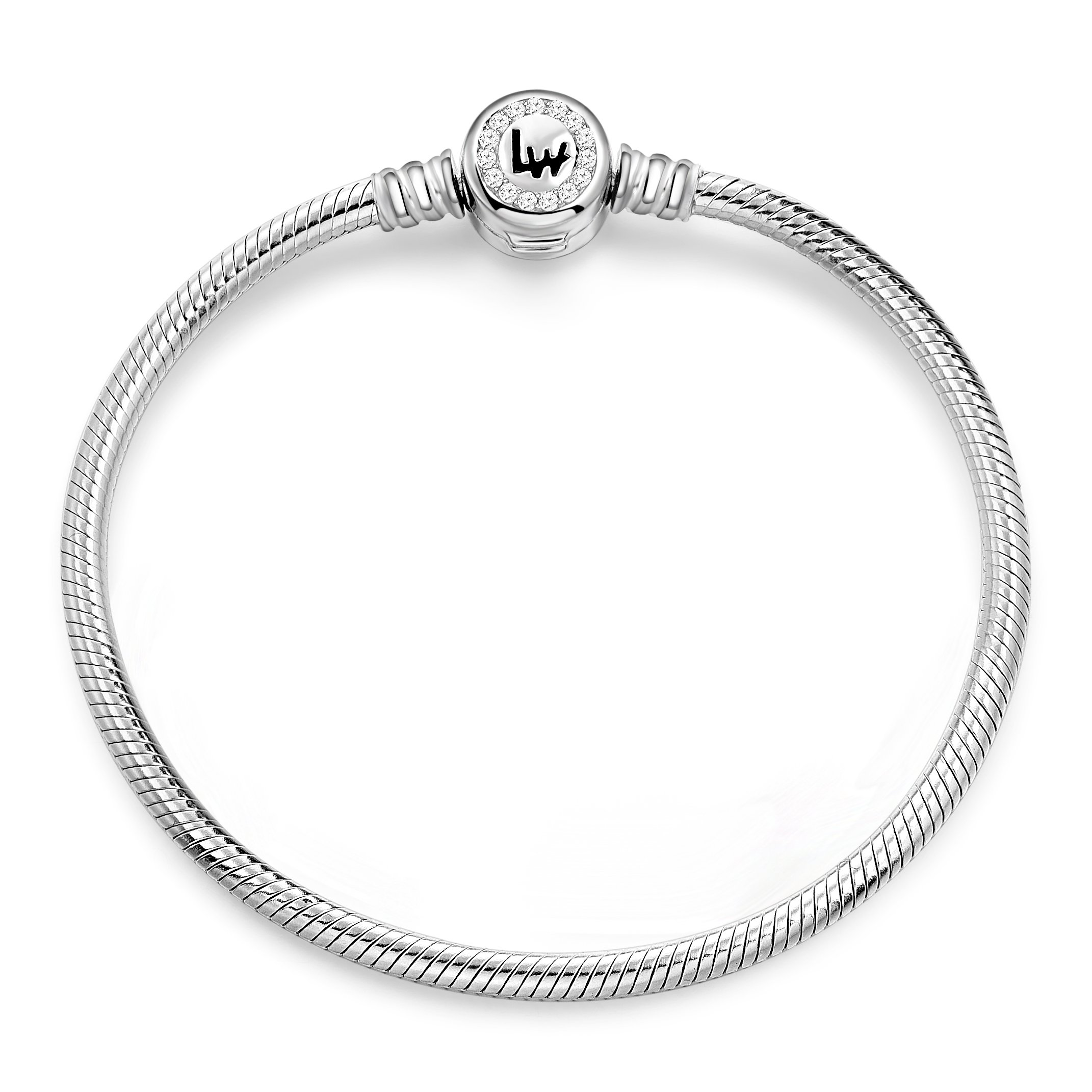 Long Way 925 Sterling Silver Snake Chain Bracelet Cubic Zirconia Basic Charm Bracelets for Women