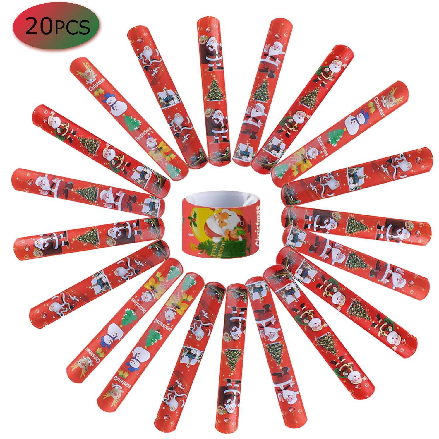 IRuiYinGo Christmas Slap Bracelets - 20 Pack Slap Bands with Santa Claus Snowman Christmas Tree Patterns for Kids Christmas Party Bag Fillers Favors Holiday Goodie Bag Little Toys