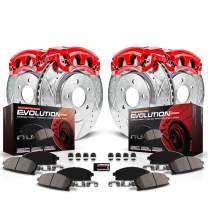 Power Stop KC797A Evolution Sport Front and Rear Caliper Kit-Drilled/Slotted Rotors, Carbon Ceramic Brake Pads, Calipers