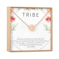 Tribe Necklace - BFF, Best Friend Gift Jewelry, Long Distance, Quotes, Friends Forever, Soul Sisters, Tribe, Heartfelt Card & Jewelry Gift for Birthday, Holidays & More