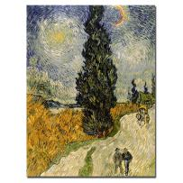 Road with Cypresses, 1890 by Vincent van Gogh, 36x48-Inch Canvas Wall Art