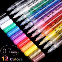 Acrylic Paint Pens, Extra Fine Point Acrylic Paint Markers, Quick Dry, Non Toxic, For Stone, Ceramic, Glass, Paper, Mugs, Wood, Fabric, Canvas, Vibrant Colors Extra Fine Tip 0.7mm (12 Colors)
