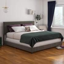Novogratz Z Taylor Upholstered, King Size Frame, Gray Velvet Bed