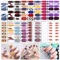16 Sheets Full Wraps Nail Art Polish Strips - Pure Color Nail Decal Stickers Street self-Adhesive Nail Dress Design Manicure Set with 1Pc Nail Files for Women Girls