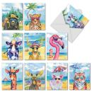 Animal's Day Off - 10 Boxed Assorted Blank Greeting Cards with Envelopes (4 x 5.12 Inch) - Cute Animal, Wildlife Watercolor Vacation Note Cards - All Occasion Notecards for Kids AM6670OCB-B1x10