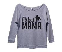 Funny Threadz Womens 3/4 Sleeve Raglan Pitbull Mama Pitbull Sweater Gift