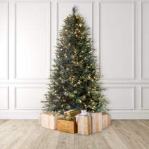 MARTHA STEWART Blue Spruce Pre-Lit Artificial Christmas Tree, 7.5 Feet, Clear Lights