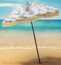 Beach Umbrella For Sand - Best Beach Umbrella Windproof w/Portable Sport Umbrella, Fringe, & Denim Beach Umbrella Bag Features Pointed Bottom Sand Anchor & 100% UV Sun Protection - Bahama (Calliope)