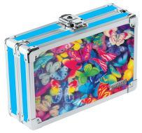 "Vaultz Locking Supplies & Pencil Box with Key Lock, 5""x 2.5""x 8.5"", 3D Lenticular Butterflies (VZ00291)"