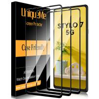 [ 3 Pack ] UniqueMe Screen Protector for LG Stylo 7 / LG Stylo 7 5G Tempered Glass [Full Coverage] Edge to Edge Protection [Case Friendly] -Black