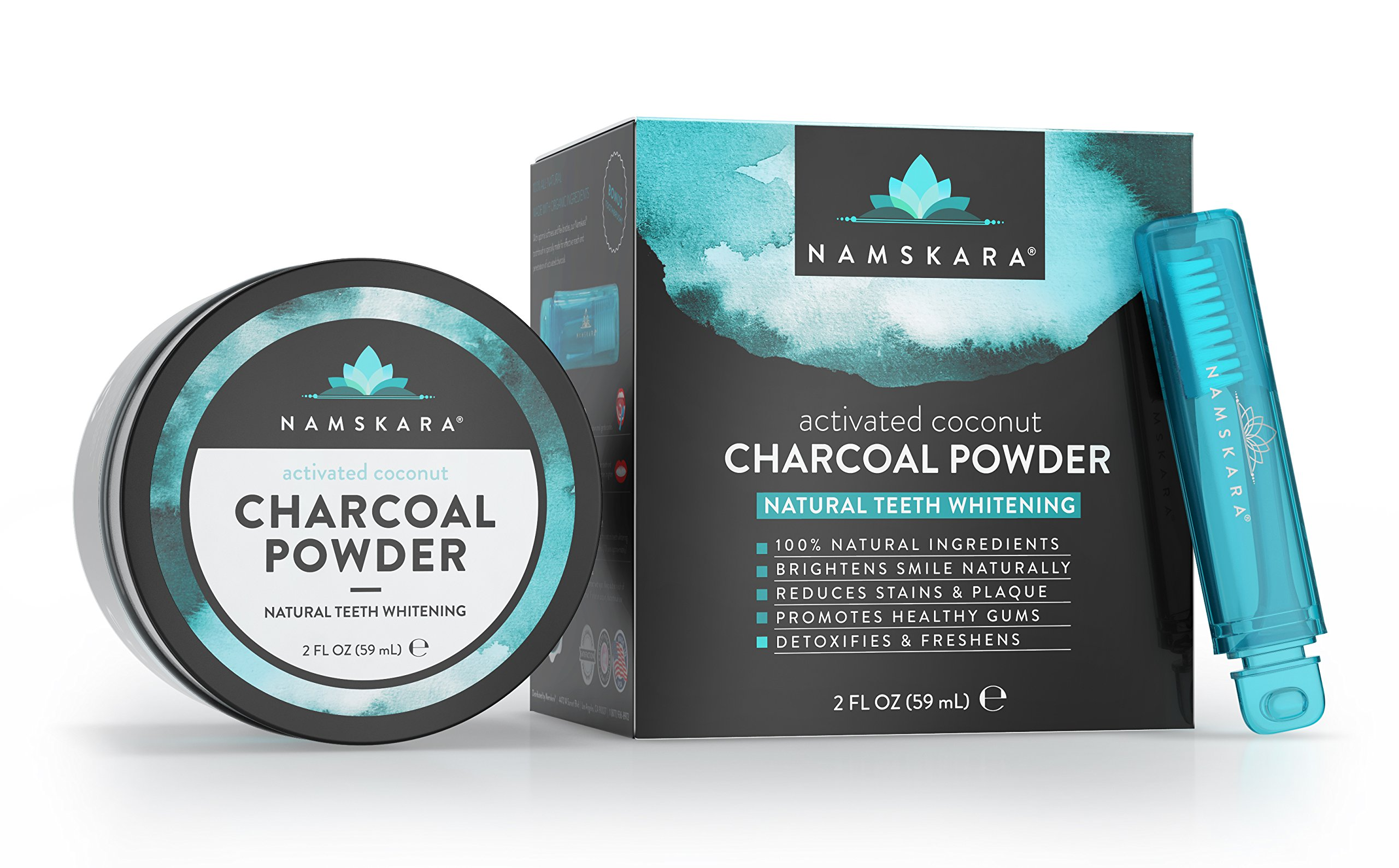 Namskara Activated Coconut Charcoal Natural Teeth Whitening Powder and Tooth Polish made with 100% Natural and Organic Ingredients - Best Natural Teeth Whitening and Teeth Stain Remover