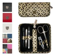 3 Swords Germany - brand quality 5 piece manicure pedicure grooming kit set for professional finger & toe nail care scissors clipper fashion leather case in gift box, Made in Solingen Germany (02112)