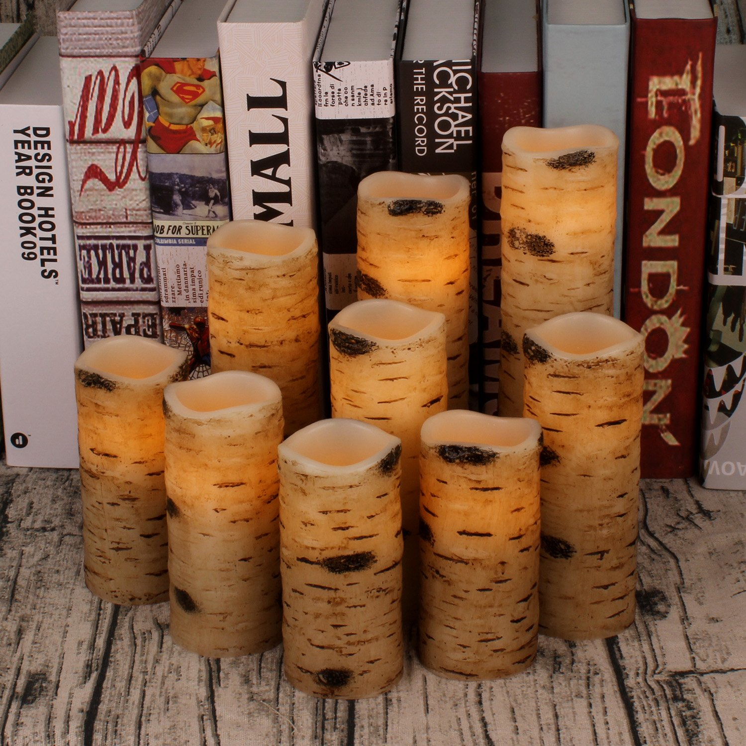 """Antizer Flameless Candles Battery Operated Candles Birch Bark Effect 4"""" 5"""" 6"""" 7"""" 8"""" 9"""" Set of 9 Ivory Real Wax Pillar LED Candles with Real Wax Pillar with 10-Key Remote Control 2/4/6/8 Hours Timer"""