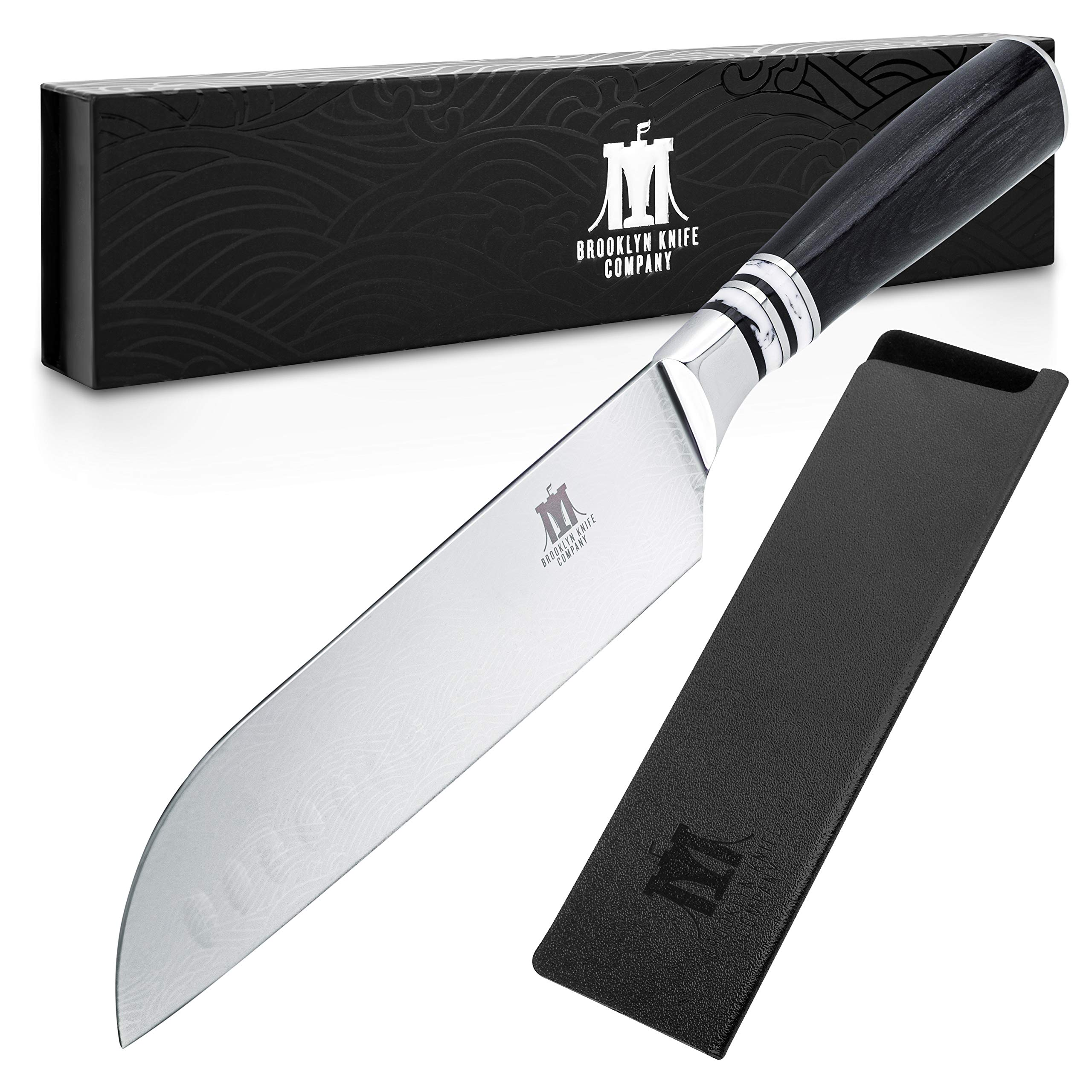 Brooklyn Knife Co. Santoku Knife - Japanese Seigaiha Series - Etched High Carbon Steel 7-Inch