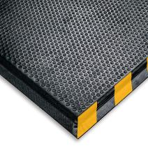 """M+A Matting 476 Happy Feet Nitrile Rubber Grip Surface Anti-Fatigue Interior Floor Mat with Striped Yellow Border, 5' Length x 3' Width, 1/2"""" Thick, Yellow Border"""