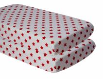 Bacati - Little Sailor 2 Pc Muslin Crib Sheets (Ikat Stars Red)