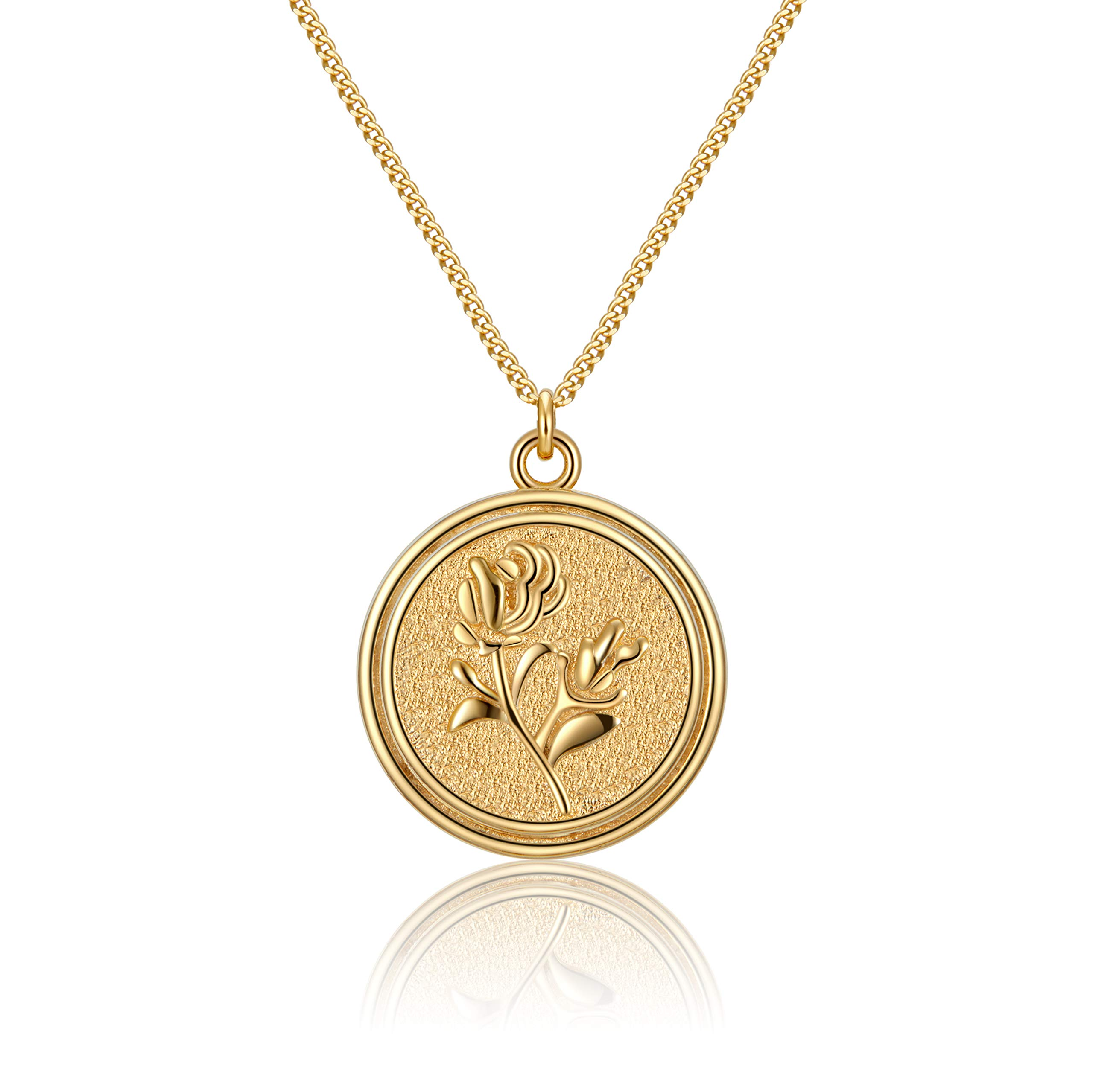 ACC PLANET Coin Pendant Necklace S925 Sterling Silver Disc Coin Medallion Vintage Valentine's Day Mother's Day Adjustable Minimalist Dainty Gold Charms Necklace for Women Girls Jewelry