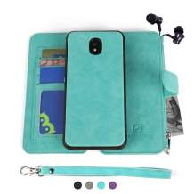 MODOS LOGICOS Samsung Galaxy J7 2018 Case, [Detachable Wallet Folio][2 in 1][Zipper Cash Storage][Up to 14 Card Slots 1 Photo Window] PU Leather Purse with Removable Inner Magnetic TPU Case - Teal