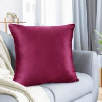 "Nestl Bedding Throw Pillow Cover 16"" x 16"" Soft Square Decorative Throw Pillow Covers Cozy Velvet Cushion Case for Sofa Couch Bedroom - Magenta"