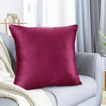 """Nestl Bedding Throw Pillow Cover 20"""" x 20"""" Soft Square Decorative Throw Pillow Covers Cozy Velvet Cushion Case for Sofa Couch Bedroom - Magenta"""