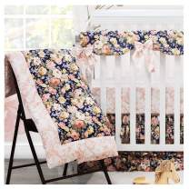 Brandream Blush Pink Baby Girls Crib Bedding Sets with 2 Packs Crib Sheets 100% Cotton Navy Floral Nursery Bedding Skirt Set 4 Pieces