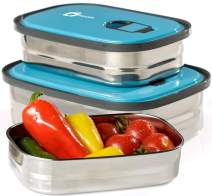 Bento Lunch Box Food Container Storage Set 3 In 1. Leak Proof Stainless Steel Can with Lids. Healthy Takeaway - Kids - Adults For Outdoor Meals. (Blue)