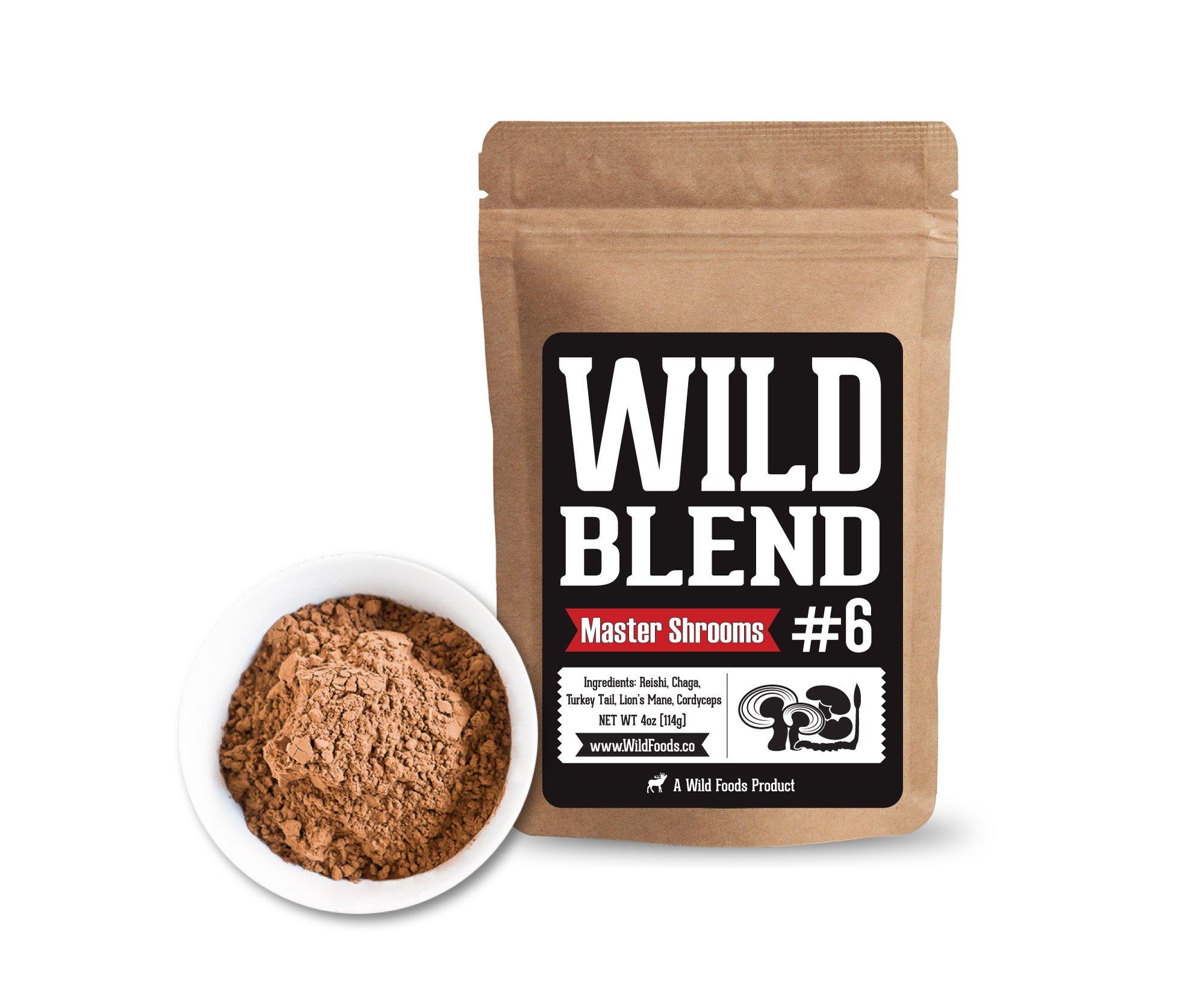 Wild Mushroom Extract Blend, Reishi, Chaga, Cordyceps, Turkey Tail, Lion's Mane Supplement for Smoothies, Shakes, Coffee Nootropic Mental Performance (Master Blend 4 oz)
