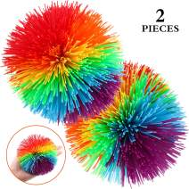 2 Pieces Large Monkey Stringy Balls 4.5 Inch Large Sensory Fidget Stringy Balls Soft Rainbow Pom Bouncy Stress Balls with Storage Bag, Multicolor (4.5 Inch, 2 Pieces)