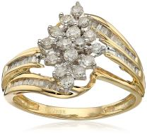 Jewelili 10kt Yellow Diamond Gold Cluster Ring (1/2 cttw)