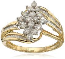 Jewelili 10kt Yellow Diamond Gold Cluster Ring (1/2 cttw)