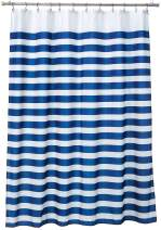"""Ambesonne Striped Shower Curtain, Nautical Marine Style Navy Blue and White Sailor Theme Geometric Pattern Art Print, Cloth Fabric Bathroom Decor Set with Hooks, 75"""" Long, Navy White"""