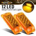 """Partsam PAIR 6"""" Amber LED Reflective Rectangle Clearance Side Marker Light Trailer 13LED, 6x2 trailer lights, Faceted led marker lights"""