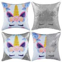 """Sequins Throw Pillow Case Festival Decorative Mermaid Magic Reversible Cushion Cover Color Changing Pillow Cases for Sofa Bed 16""""x16"""""""