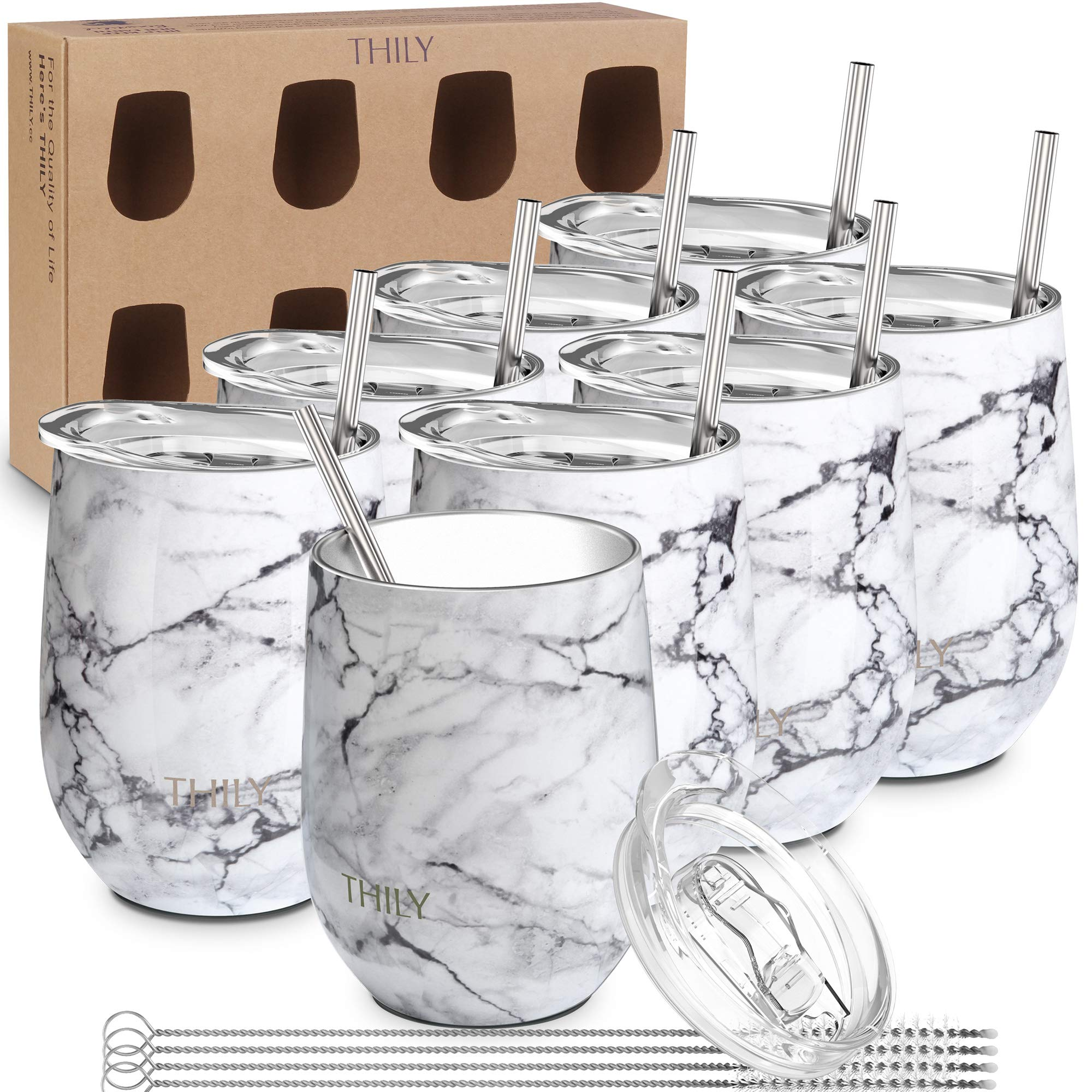 Stainless Steel Insulated Wine Tumbler - THILY 8 Pack Travel Stemless Wine Glasses Set with Sliding Lid and Straw, Cute Cups, Keep Hot or Cold for Wine, Coffee, White Marble